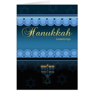 Hanukkah Greetings - Blue Stylish - Hanukkah Card
