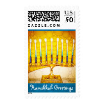 """Hanukkah Greetings"" yellow gold menorah photo Postage"