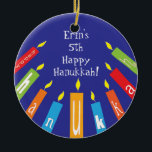 """Hanukkah Happy Colorful Candles Ornament<br><div class=""""desc"""">Hanukkah Happy Colorful Candles Ornament. Personalize each side by deleting existing text and adding your own with your favorite font style,  color and size. Happy Hanukkah! Thanks for shopping and stopping by! Much appreciated!</div>"""