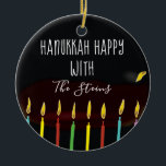 """Hanukkah Happy Colorful Menorah Candles Ceramic Ornament<br><div class=""""desc"""">Hanukkah """"Hanukkah Happy Colorful Menorah Candles"""" Circle Ornament. (2 sided) Personalize by deleting text on front and back of the ornament. Then using your favorite font color, size, and style, type in your own words. Thanks for stopping and shopping by. Much appreciated! Happy Chanukah/Hanukkah! Bring a lot more holiday cheer...</div>"""