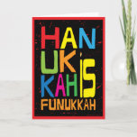 """Hanukkah is Funukkah"" Greeting Card with Envelope<br><div class=""desc"">""Hanukkah is Funukkah"" Greeting Card with Envelope. Choose your favorite font style,  color,  size and wording to personalize this card. 