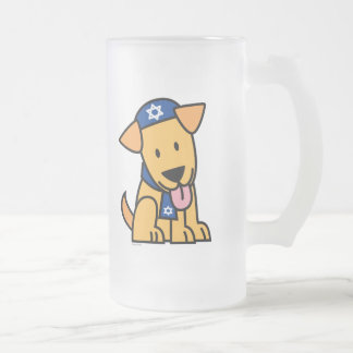 Hanukkah Jewish Labrador Retriever Puppy Dog Frosted Glass Beer Mug