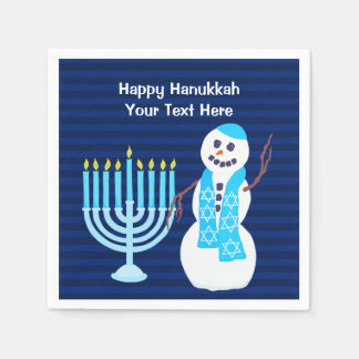 Hanukkah Jewish Snowman Blue Menorah Party Decor Napkin