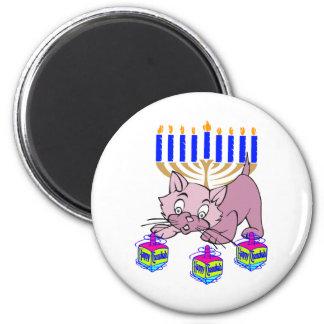 Hanukkah Kitty 2 Inch Round Magnet