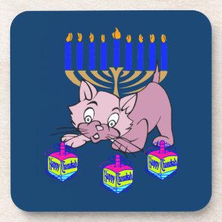 Hanukkah Kitty Beverage Coaster