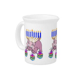 Hanukkah Kitty Beverage Pitcher