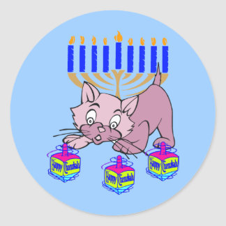 Hanukkah Kitty Classic Round Sticker