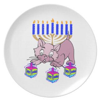 Hanukkah Kitty Dinner Plate