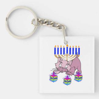 Hanukkah Kitty Double-Sided Square Acrylic Keychain