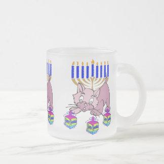 Hanukkah Kitty Frosted Glass Coffee Mug