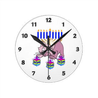 Hanukkah Kitty Round Clock