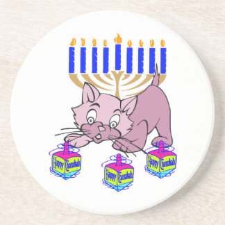 Hanukkah Kitty Sandstone Coaster
