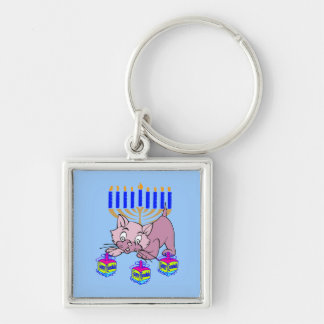 Hanukkah Kitty Silver-Colored Square Keychain