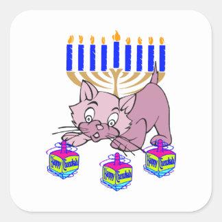 Hanukkah Kitty Square Sticker
