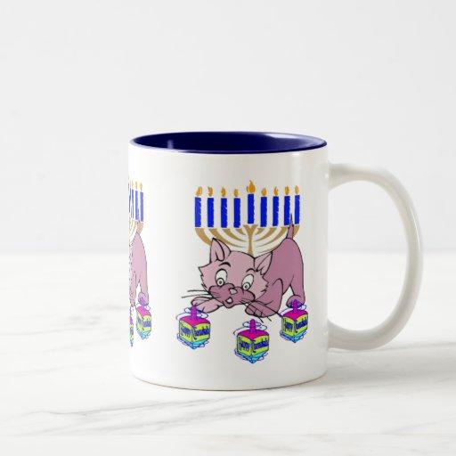 Hanukkah Kitty Two-Tone Coffee Mug