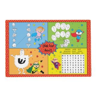 Hanukkah Laminated Placemat for Kids Personalize