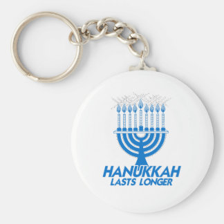 HANUKKAH LASTS LONGER -.png Basic Round Button Keychain