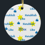 """Hanukkah """"Like""""l/Blue/Yellow Circle Ornament<br><div class=""""desc"""">Hanukkah """"Like""""/Blue/Yellow Circle Ornament. (2 sided) Personalize by deleting """"20XX"""" on front and back of the ornament. Then using your favorite font color, size and style, type in your own words. Thanks for stopping and shopping by. Much appreciated! Happy Chanukah/Hanukkah! Bring a lot more holiday cheer to your tree with...</div>"""
