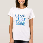 """Hanukkah """"Live Laugh Love a Latke"""" Blue T-Shirt<br><div class=""""desc"""">Hanukkah """"Live Laugh Love a Latke"""" Blue T-Shirt Choose from over 155 shirt styles and sizes for this design. This basic t-shirt features a relaxed fit for the female shape. Made from 100% cotton, this t-shirt is both durable and soft - a great combination if you're looking for that casual...</div>"""