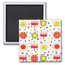 Hanukkah Magnet Square COLORFUL CRAZY 8