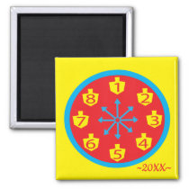 Hanukkah Magnet Square COLORFUL CRAZY 8 Clock