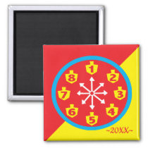 Hanukkah Magnet Square COLORFUL CRAZY 8 Clockworks