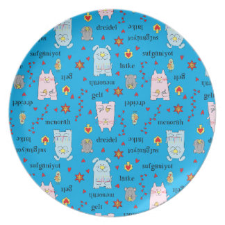 "Hanukkah Melamine/Whimsical Pets Plate 10"" Round"