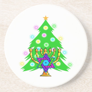 Hanukkah Menorah and Christmas Tree Coaster