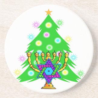Hanukkah Menorah and Christmas Tree Drink Coaster