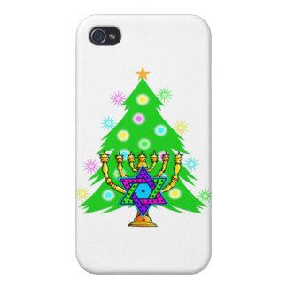 Hanukkah Menorah and Christmas Tree iPhone 4 Case