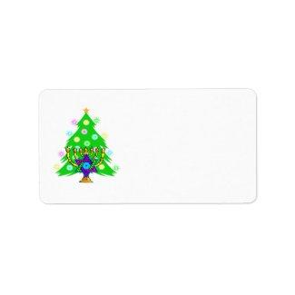 Hanukkah Menorah and Christmas Tree Personalized Address Label