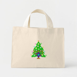 Hanukkah Menorah and Christmas Tree Mini Tote Bag