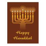 Hanukkah menorah background postcard
