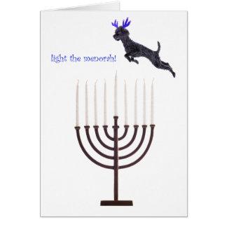 Hanukkah Menorah Black Poodle Dog Reindeer Card