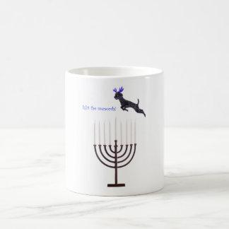 Hanukkah Menorah Black Poodle Dog Reindeer Coffee Mug
