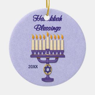 Hanukkah Menorah Blessings Double-Sided Ceramic Round Christmas Ornament