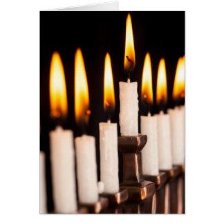 Hanukkah Menorah Burning White Candles Chanukah Card