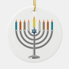 Hanukkah Menorah Ceramic Ornament at Zazzle