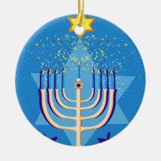 Hanukkah Menorah Ceramic Ornament at Zazzle