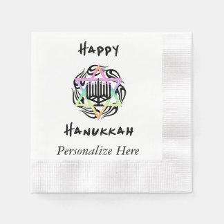 Hanukkah Menorah Coined Cocktail Napkin