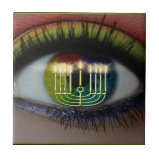 Hanukkah Menorah & Eye Reflection Ceramic Trivet