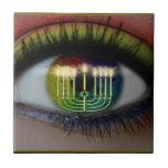 Hanukkah Menorah & Eye Reflection Ceramic Trivet Ceramic Tile