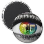 Hanukkah Menorah & Eye Reflection Fridge Magnet