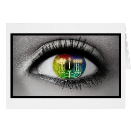 Hanukkah Menorah & Eye Reflection Greeting Card