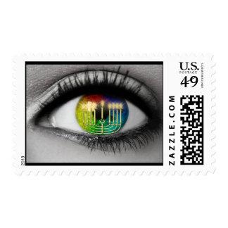 Hanukkah Menorah, Eye Reflection Postage Stamps