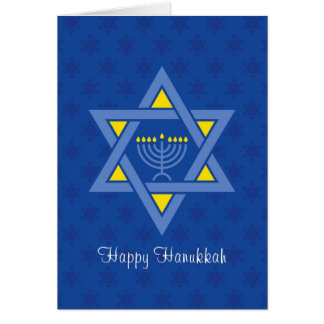 Hanukkah Menorah Inside Star of David Card