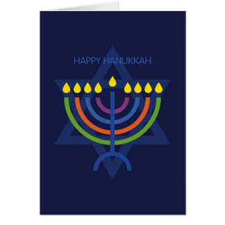 Hanukkah Menorah Over Star of David Card