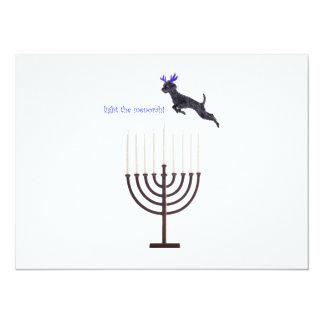 Hanukkah Menorah Poodle Dog Reindeer Candles Card