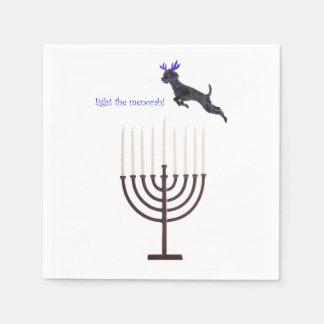 Hanukkah Menorah Poodle Dog Reindeer Candles Napkin