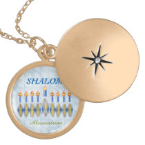 Hanukkah Menorah Shalom Customizable Name Gold Plated Necklace